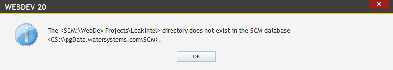 SCM Bug – Directory Does not exist in SCM Database